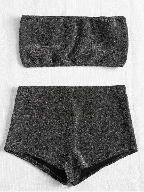 Conjunto de top y pantalón corto brillante de Bandeau - Gris Carbón L