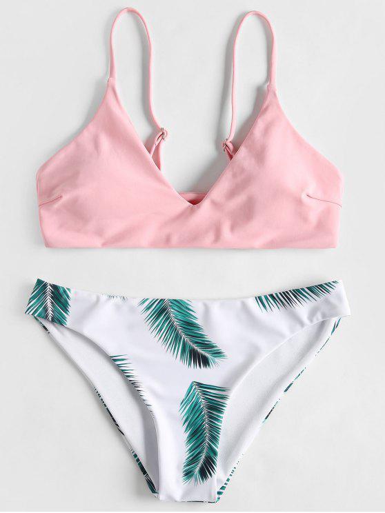 Leaf Print Gepolsterter Bikini-Set - Helles Rosa L