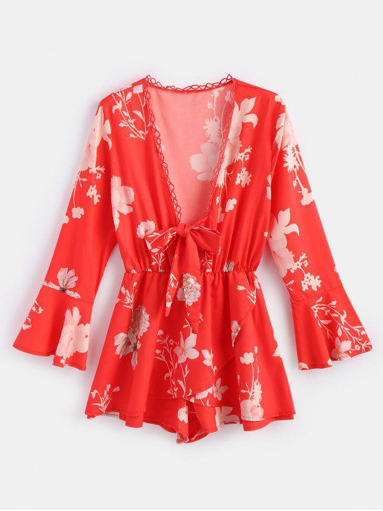 fancy Flower Print Flare Sleeve Romper - VALENTINE RED L