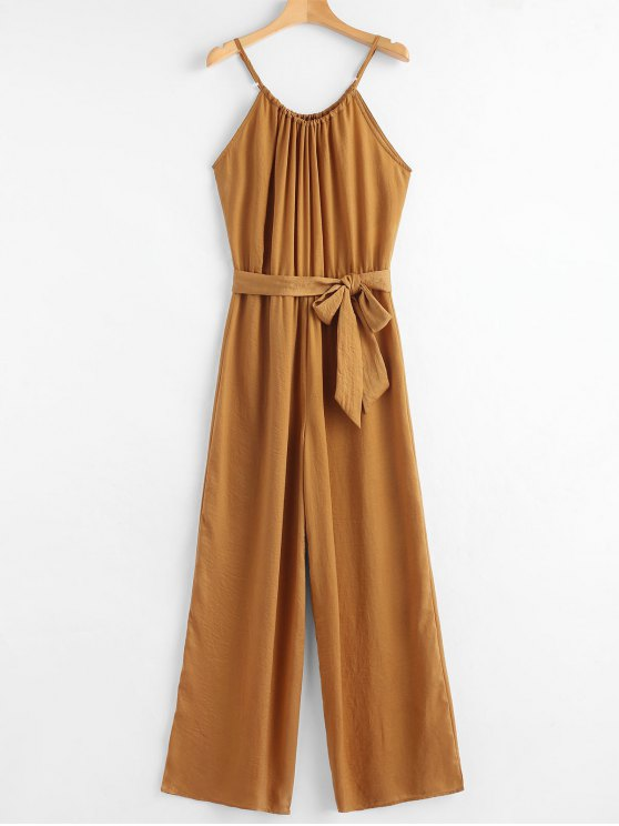fashion Belted Cami Jumpsuit - GOLD BROWN S