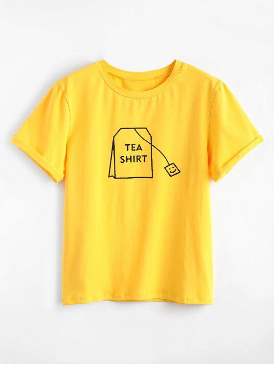 20 Off 2019 Tabs Graphic Cute T Shirt In Bright Yellow Zaful