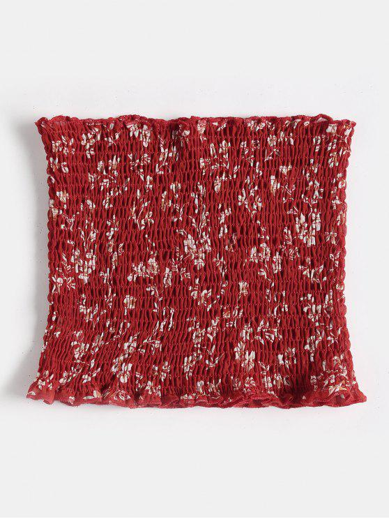 Parte Superior Do Tubo Smocked Floral Minúscula - Vermelho Cereja XL