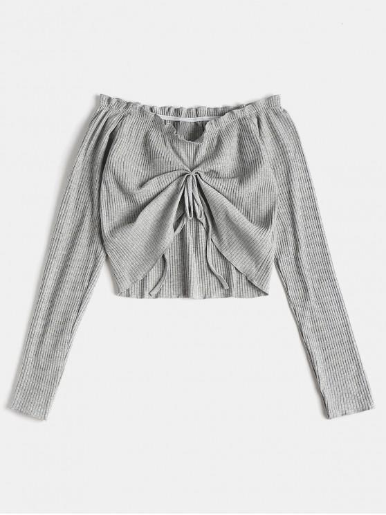 unique Ruched Long Sleeve Off The Shoulder Top - GRAY CLOUD S