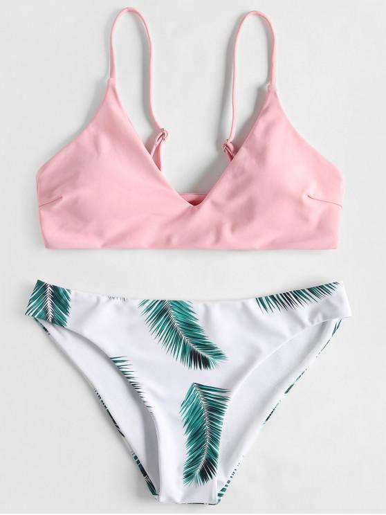 ladies ZAFUL Leaf Print Bikini Set - LIGHT PINK M