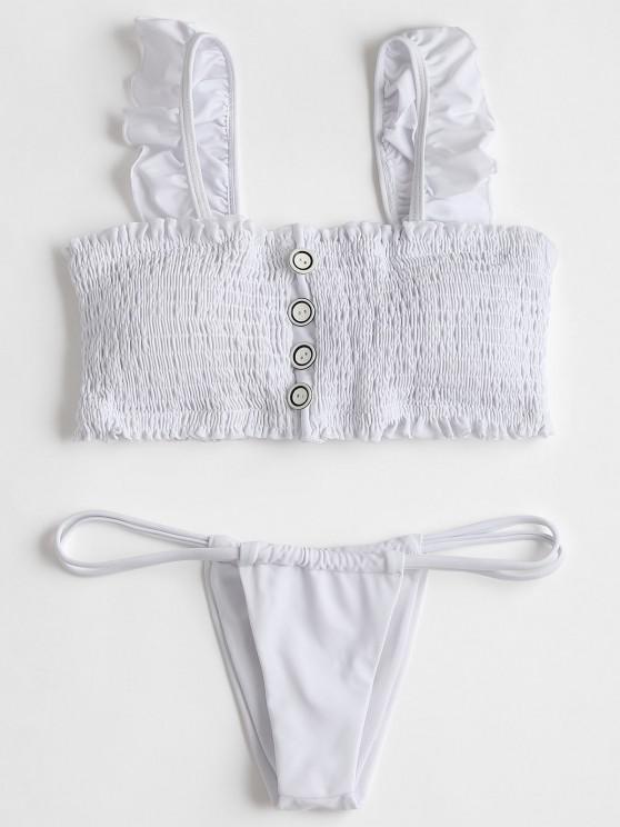 صدرية مزينة بكشكشة مع سروال بيكيني ثونغ - أبيض XL