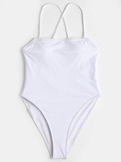 Cross Back High Cut One Piece Swimwear - White S