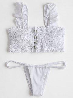 Ruffles Smocked Bikini Top With Thong Bottoms - White Xl