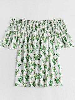 Off Shoulder Smocked Cacti Print Dress - White M