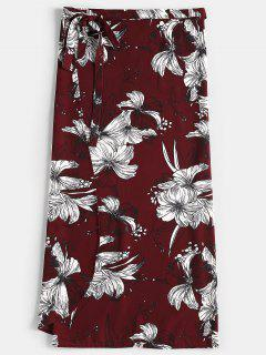 Floral Print Wrap Skirt - Red Wine