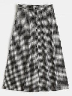 Buttoned Gingham A Line Midi Skirt - Black M