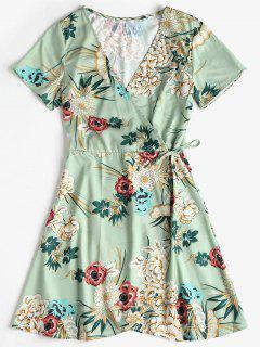 Mini Vestido De Seda Con Estampado Floral - Verde De Rana S