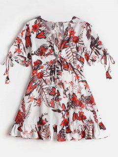 Mini Robe Thé Florale à Col Plongeant - Blanc S