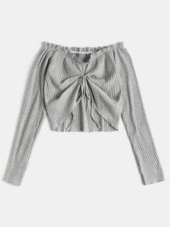 Ruched Long Sleeve Off The Shoulder Top - Gray Cloud S