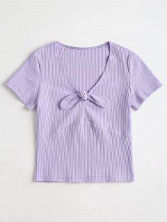 Ribbed Crop Knot Tee - Lavender Blue M
