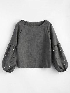 Lantern Sleeve Beading Blouse - Gray M