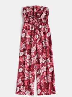Floral Bandeau Wide Leg Palazzo Jumpsuit - Chestnut Red L