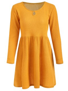Rib Knit Sleeved Fit And Flare Dress - Rubber Ducky Yellow L