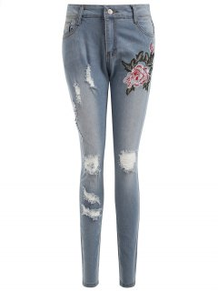 Embroidered Authentic Denim Ripped Skinny Jeans - Light Blue L