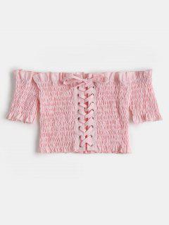 Smocked Lacing Off Le Top Crop Epaules - #fdd7e4