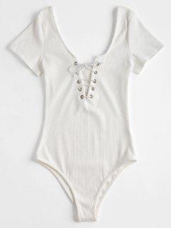 Ribbed Short Sleeve Lace Up Bodysuit - White Xl