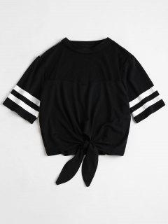 Contrast Striped Sleeve Mesh Yoke Tee - Black L