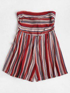 Pockets Striped Bandeau Cute Romper - Multi M