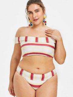Striped Plus Size Off Shoulder Bikini - Red Wine L