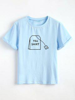 Tabs Grafik Hübsch T-Shirt - Helles Himmelblau L