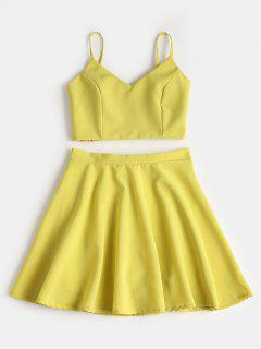 Smocked Crop Cami Top And Skirt Set - Avocado Green S