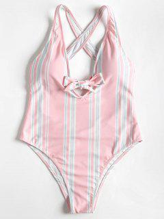 High Cut Bowtied Striped One Piece Swimsuit - Light Pink S