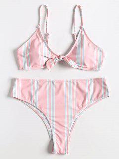 Übergröße Gestreiftes Bowtie High Rise Bikini Set - Pink 2x