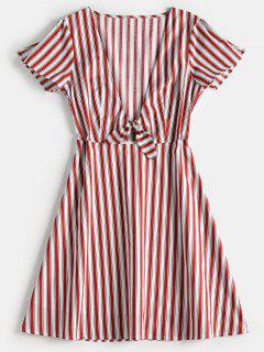Striped Plunge A Line Dress - Cherry Red M