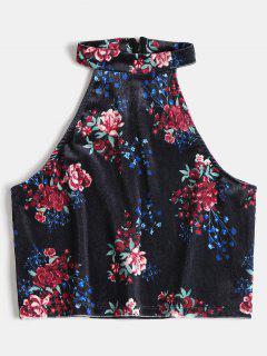 Floral Printed Velvet Crop Top - Denim Dark Blue L