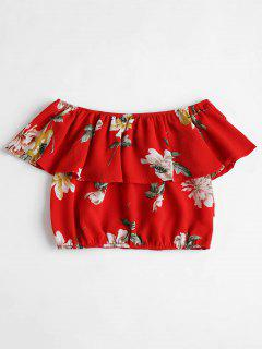 Off The Shoulder Ruffle Overlay Crop Top - Love Red M