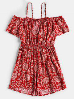 Flower Print Cut Out Romper - Red S