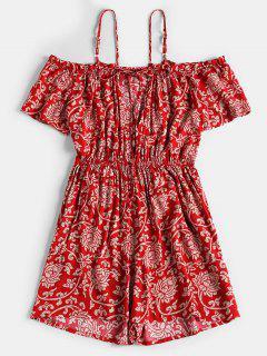 Estampado De Flores Corte Mameluco - Rojo L