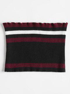 Ribbed Striped Tube Top - Black L