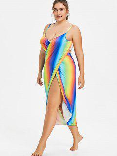 Plus Size Convertible Wrap Cover Up Sarong - Multi-p 2xl