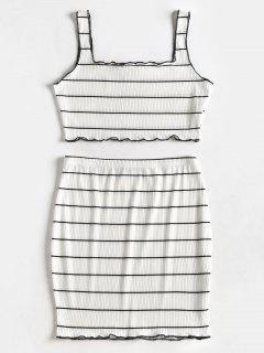 Striped Crop Top And Skirt Suit - White M