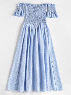 Slit Smocked Off Shoulder Midi Dress - Light Blue M