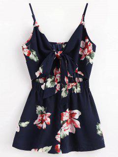 Floral Cutout Tie Front Breezy Romper - Midnight Blue L