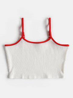 Contrast Ribbed Cami Tank Top - White Xl