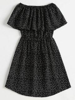 Polka Dot Off The Shoulder Overlay Dress - Black L