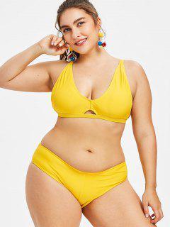 Plunge Plus Size Cami Strap Bikini - Yellow 3x