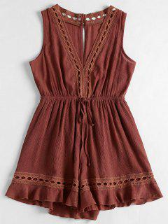 Plunging Neck Hollow Out Romper - Chestnut Red L