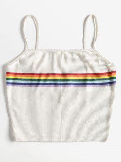 Striped Knitted Cami Top - White M