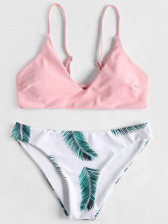 Blatt Druck Gepolsterter Bikini Set - Pink L