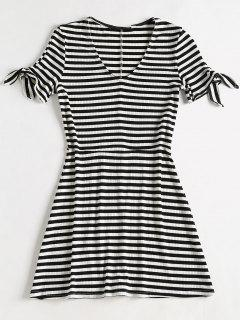 Striped Rib Knit Mini Skater Dress - Multi M