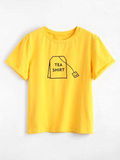 Tabs Graphic Cute T Shirt - Bright Yellow M
