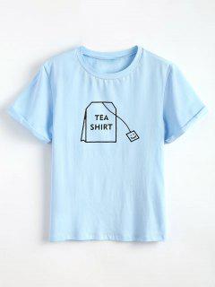 Tabs Graphique Mignon T-shirt - Bleu Ciel Léger  L